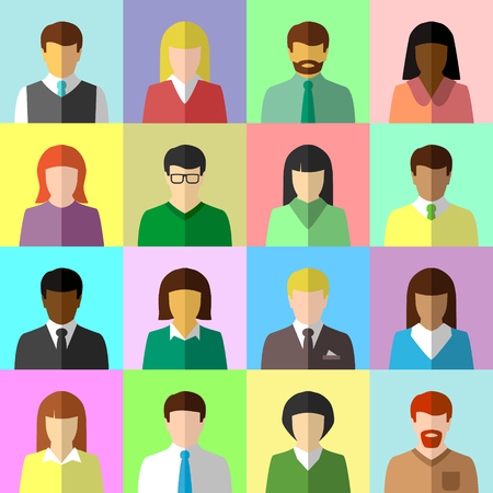 multi racial: Flat avatar set of diverse business people Illustration