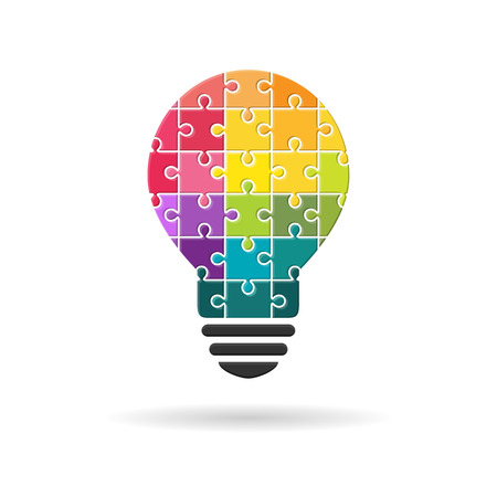Lightbulb made of colourful puzzle pieces as idea and diversity concept