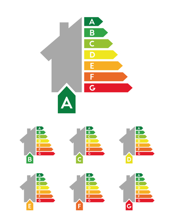 Energy efficiency and certificate concept with building set and rating bars
