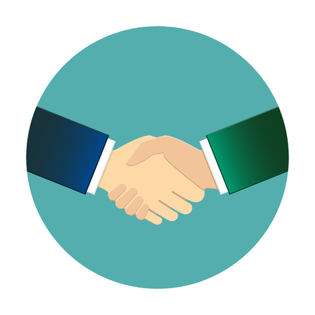 Businessmen shaking hands. Circle logo, vector illustration.