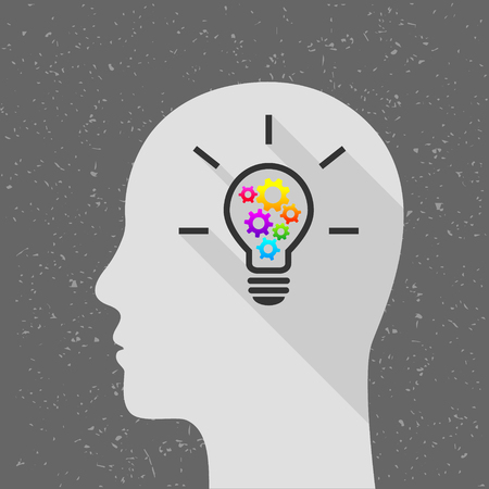 Light bulb with colorful gears and human head as thinking and creativity concept. Flat design with long shadow. 向量圖像