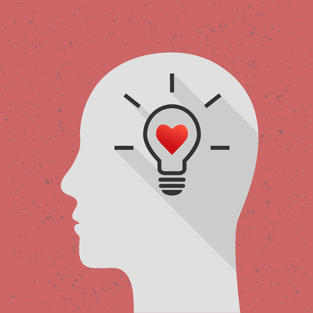 Positive thinking concept with lightbulb, heart shape and human head. Flat design with long shadow.