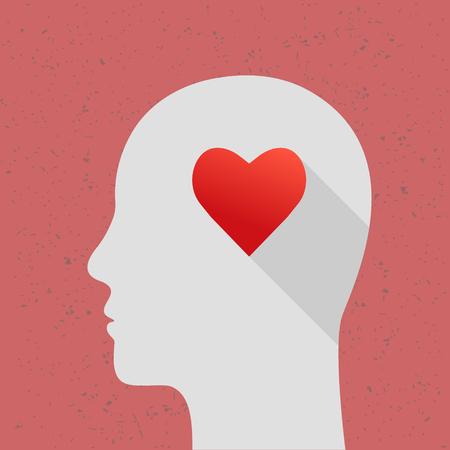 인간의 머리와 심장 모양으로 개념을 사랑 해요. 긴 그림자가있는 평면 디자인.