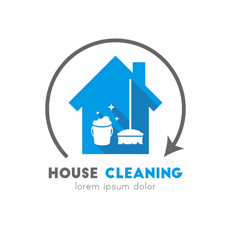 House cleaning service logo with bucket and broom in flat design. Circle arrow concept.