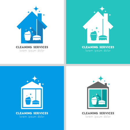 House and cleaning services logo concept 向量圖像