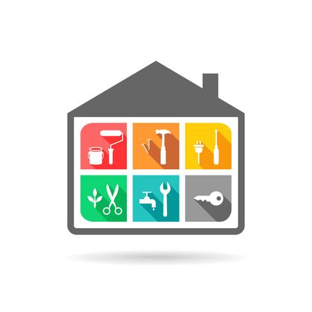 Facility Management Konzept mit Haus- und Arbeitswerkzeugikonen im flachen Design Standard-Bild - 78904389