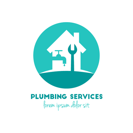 Plumbing services logo concept with house, water tap, waterdrop and wrench. 向量圖像