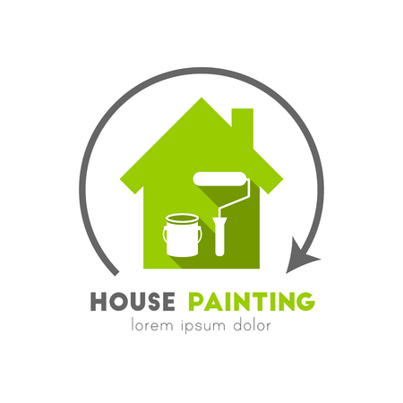 House painting logo with can and paint roller in flat design 向量圖像