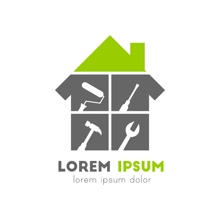 House logo with work tools