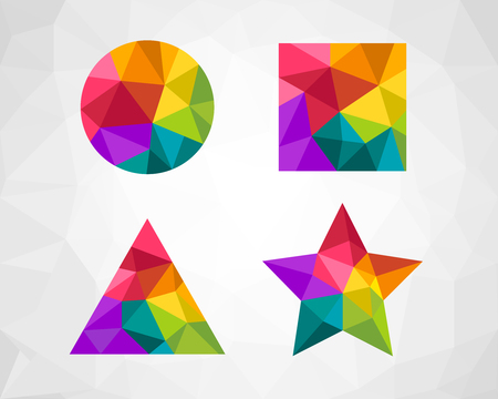 Low poly geometric shapes as design element. Colorful circle, square, triangle and star shape. Illustration
