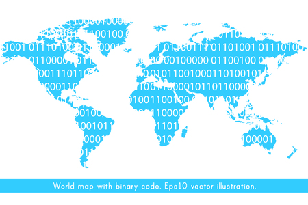World map with binary code concept