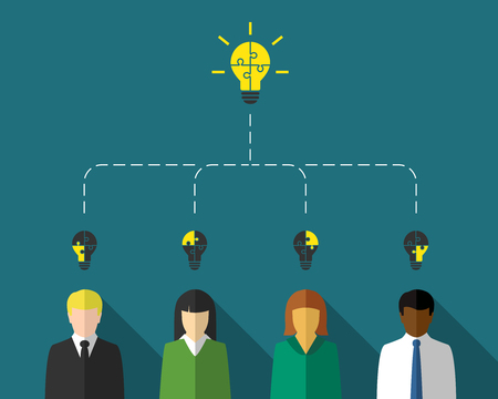 Business people as teamwork and brainstorm concept