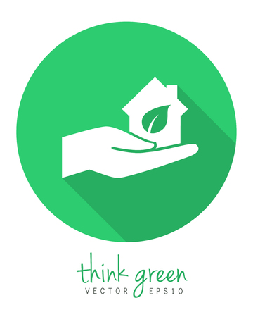Hand holding an eco house as environmentally friendly development concept. Logo and icon concept in flat design with long shadow. 向量圖像
