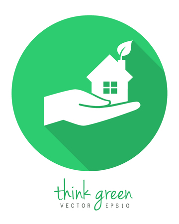 Hand holding greem home with leaf as sustainable housing concept. Logo and icon concept in flat design with long shadow.