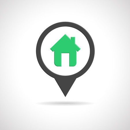 House icon as map pin concept. Map pointer design for real estate. 向量圖像