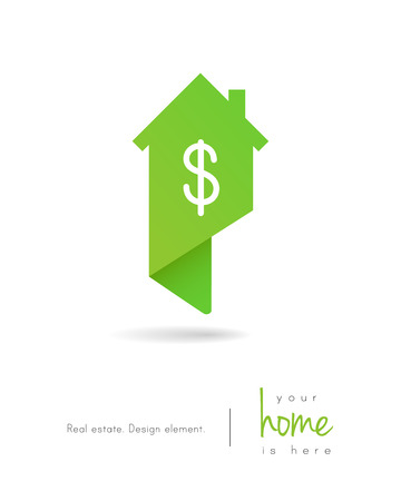 Real estate house logo as map pin concept with dollar symbol