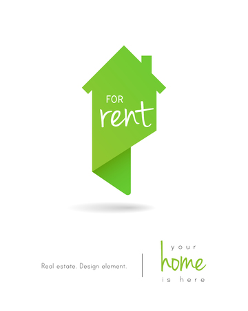 Real estate house for rent logo as map pin design 向量圖像