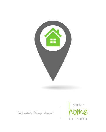 Real estate concept with house as map pin design 向量圖像