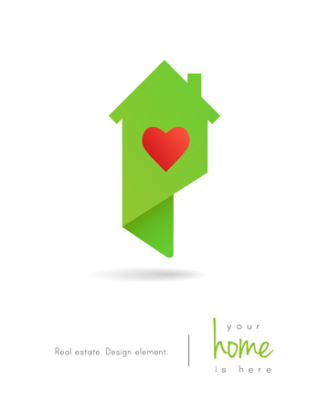 Real estate house logo as map pin design with a heart inside 向量圖像