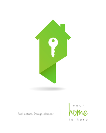Real estate house logo as map pin design with key