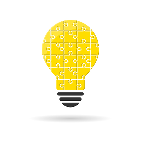 Puzzle-made lightbulb as idea and solution concept
