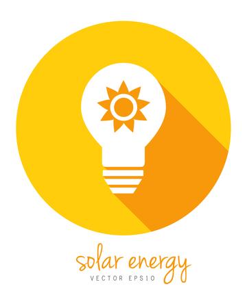 Concetto di energia solare con sole e lampadina. Icona del cerchio in design piatto con una lunga ombra. Archivio Fotografico - 78903498