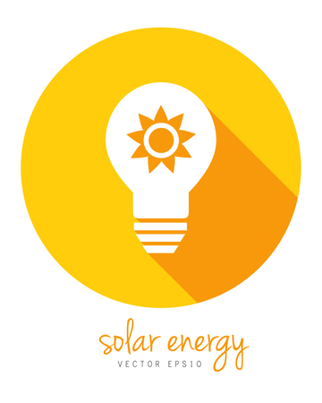 Solar energy concept with sun and lightbulb. Circle icon in flat design with long shadow.