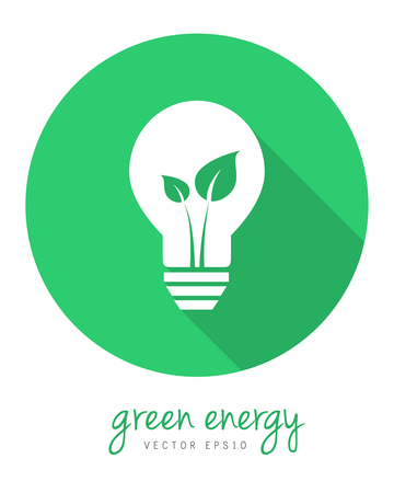 Green energy concept with leaf and lightbulb . Circle icon in flat design with long shadow.