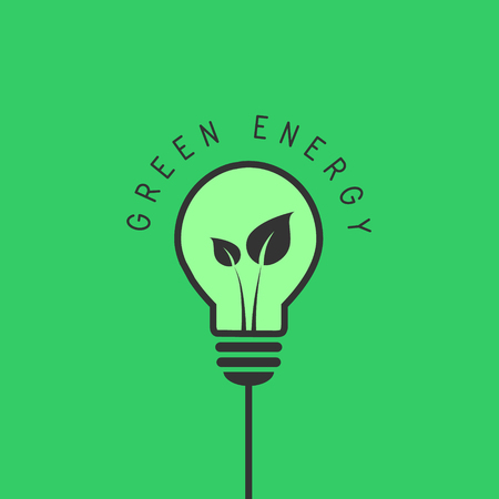 Green energy concept with light bulb and leaves inside 向量圖像