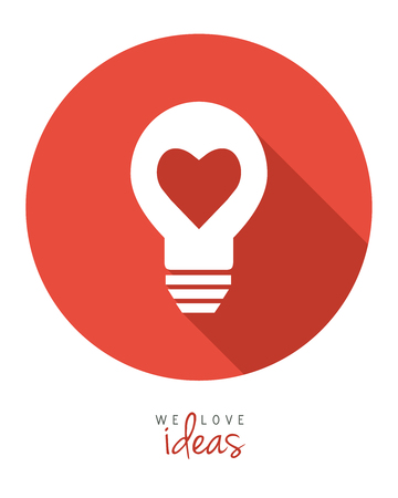 Lightbulb with heart as idea concept in flat design.