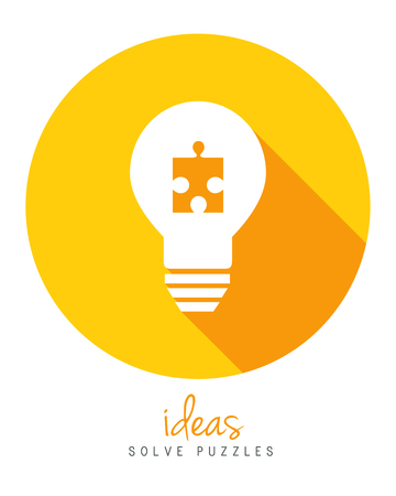 Lightbulb with puzzle piece as idea and solution concept in flat design.