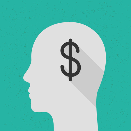 Money on mind concept with dollar symbol and human head. Flat design with long shadow.