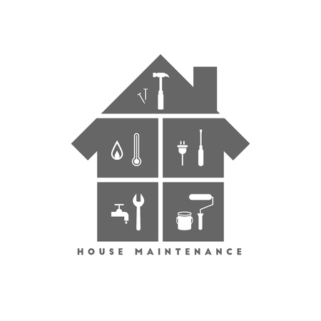 House maintenance concept with different work tool icons Illustration