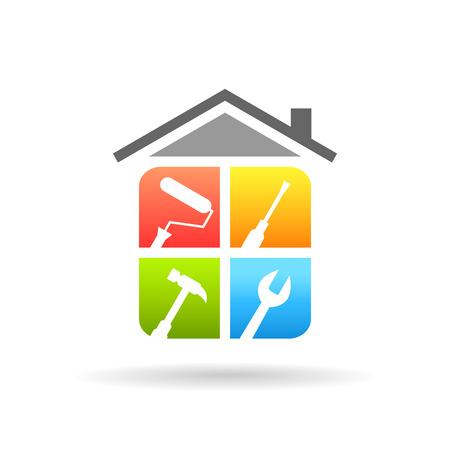 Concetto di riparazione a casa con strumenti di lavoro. Logo di rinnovamento e miglioramento domestico in design colorato.