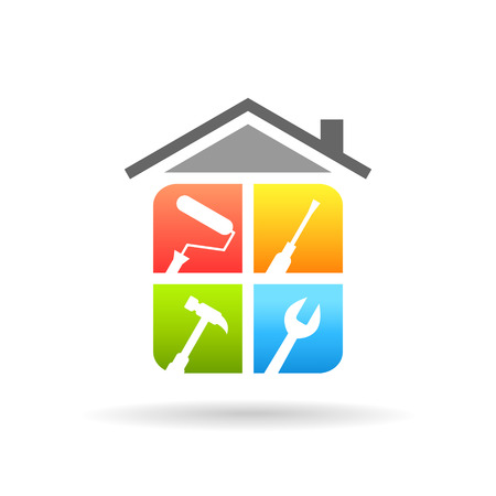 Home repair concept with work tools. Home renovation and improvement logo in colorful design.