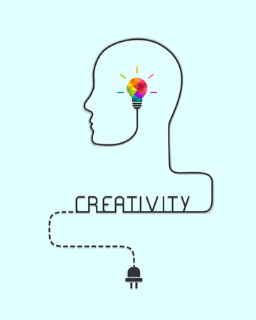 Creativity and imagination concept with colorful light bulb and head silhouette made of wire