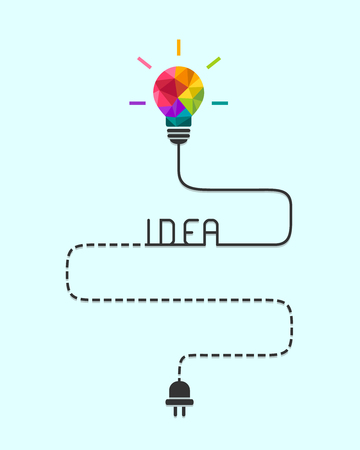Route to idea and challenge concept with colourful lightbulb and dash line wire