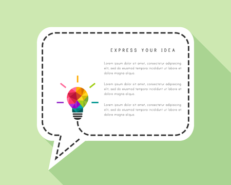 Speech bubble template with light bulb in flat design.