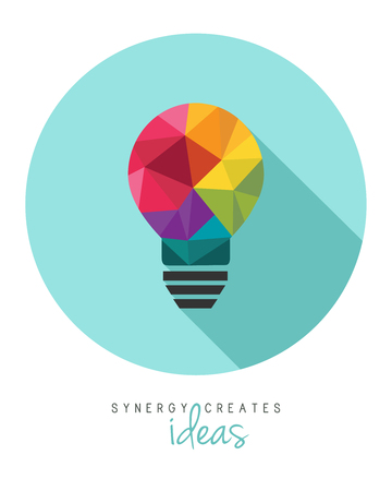 Colorful low poly lightbulb as synergy and teamwork concept 向量圖像