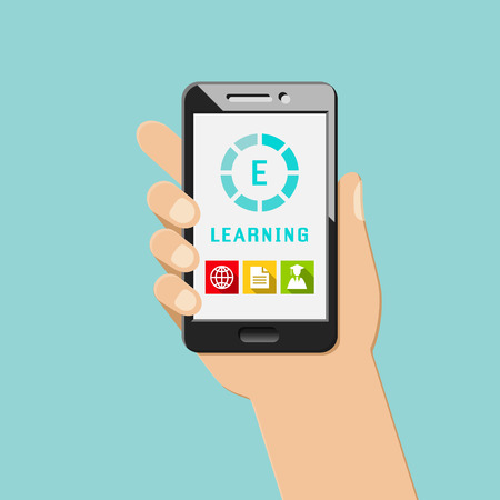 E-learning concept with mobile apps and icons. Hand holding smartphone.