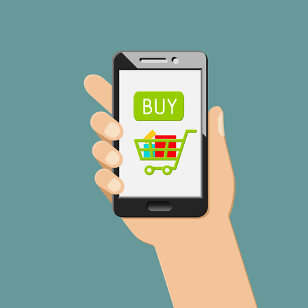 Online shopping and e-commerce concept with mobile app. Hand holding smartphone. 向量圖像