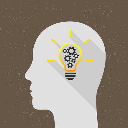 Bright lightbulb with gears and human head as thinking and intelligence concept. Flat design with long shadow. 向量圖像