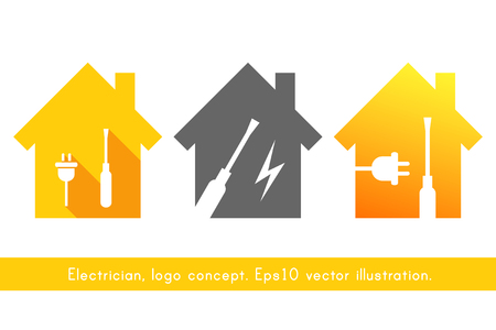 Electrician logo concept with house, plug and screwdriver. Yellow design set with work tool icons.