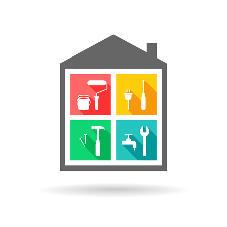 House maintenance and improvement logo with different work tool icons.