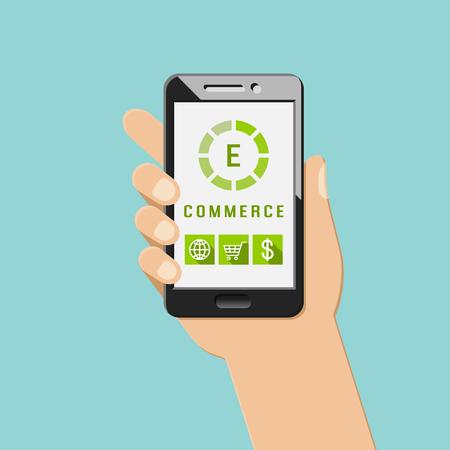 E-commerce concept with mobile apps and icons. Hand holding smartphone.