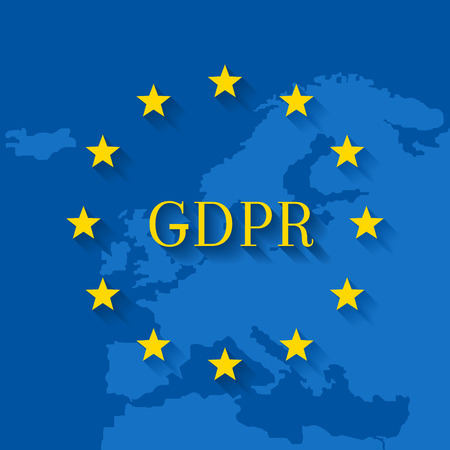 GDPR concept with flag and map of the EU
