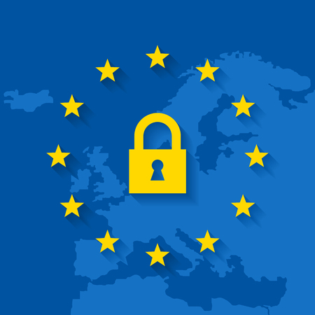 General Data Protection Regulation with lock symbol and map of Europe. EU flag with stars and long shadow.