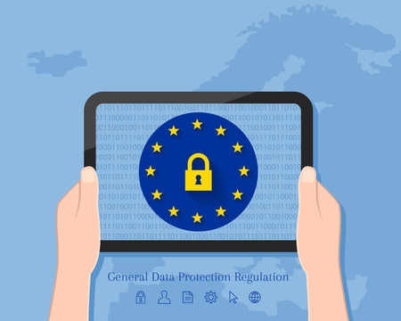 General Data Protection Regulation concept with map of Europe in the background. Hand holding tablet with lock symbol and EU flag on its screen display. 向量圖像