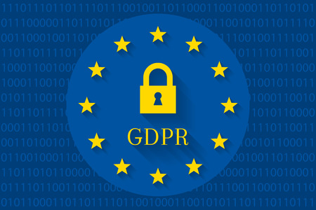 GDPR concept with lock and flag of the EU. Binary code in background as digital data symbol. 向量圖像