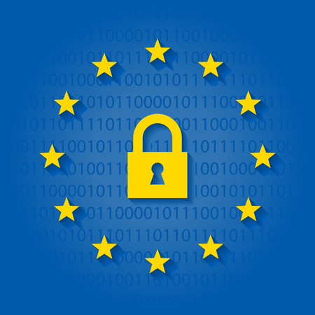 General Data Protection Regulation with lock symbol and flag of European Union 向量圖像